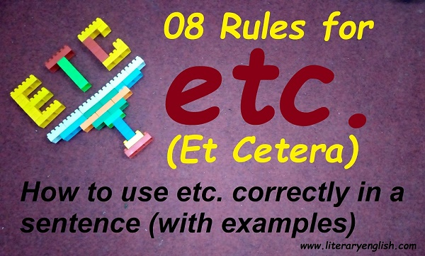 how to use etc. correctly in a sentence